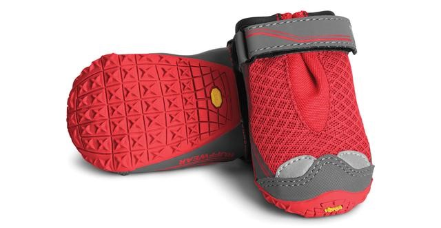 product photo of the grip trex dog boots in red currant by ruffwear